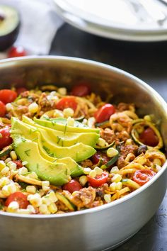 One Pot Cheesy Taco Zucchini Noodle Skillet is a healthy spin on Taco Tuesday! Zucchini noodles,enchilada spiced ground turkey, black beans, corn and creamy avocado help makeover this dish! Well after a weekend filled with pork tacos, my famous margaritas and a couple pieces of wedding cake, my body is craving a nutrient dense meal!...