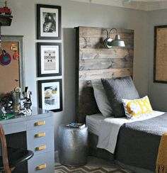 Love the vintage + industrial look of this little boy's bedroom, especially the headboard and overhead light via Chic on a Shoestring Decorating blog.