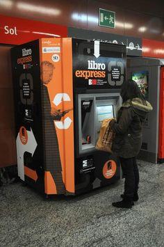 the machine is on platform 1 Sol commuter station in Madrid. Spain. Works with libraries CAM card, and ID bibliometro...../ la máquina está en el andén 1 estación Cercanías de Sol, en Madrid. España. Funciona con carné bibliotecas CAM, bibliometro y DNI...