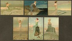 Women dominating landscapes, 1903 by Raphael Kirchner. Art Nouveau (Modern)…