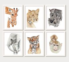 Baby Nursery or Children Bedroom wall art decor. Hand painted: Jungle, Noah's Ark, Zoo animals wood sign decoration – Meredith Cruise - Baby Animals Baby Animal Nursery, Safari Nursery, Boho Nursery, Nursery Prints, Nursery Paintings, Animal Paintings, Painting Prints, Watercolor Paintings, Painting Portraits