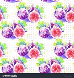 Common Fig. Seamless Pattern With Figs, Half And Whole Fruit.Real Hand-Drawn Watercolor Drawing.Vegan Food.Can Be Used As Greeting Card For Birthday,Wedding And So On.Original Fruit Background Stock Photo 422861056 : Shutterstock