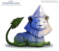 Daily Paint Mountain Lion by Cryptid-Creations on DeviantArt Cute Fantasy Creatures, Cute Creatures, Mythical Creatures, Cute Animal Drawings, Kawaii Drawings, Cute Drawings, Chibi, Animal Puns, Creature Drawings