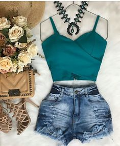 Summer Outfits, Summer Clothes, Fashion Outfits, Womens Fashion, Casual Chic, Bodysuit, Fashion Looks, Boho, Shorts