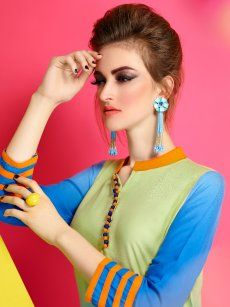 Sparkal Green & Blue Daily Wear Kurti