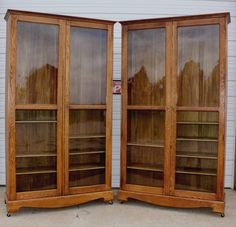 Huge Antique Oak Country Store Clothing Book Case China Dish Display Cabinet OLD | eBay