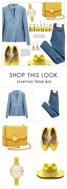 """Necktie Blouses"" by alexandrazeres ❤ liked on Polyvore featuring Rochas, Surface To Air, Marc Jacobs, Orla Kiely, Sensi Studio, LC Lauren Conrad, yellow, denim, blouse and necktie"