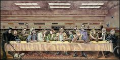 Characters from left to right: Nihilist #1, Nihilist #2, Nihilist #3, the Stranger, Jackie Treehorn, Maude, The Dude, Donny, Walter Sobchak, The Jesus, Bunny, Brandt, Jeffrey Lebowski-The Big Lebowski