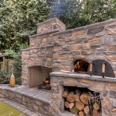 Outdoor Fireplace with pizza oven - Traditional - portland - by Paradise Restored Landscaping & Exterior Design Outside Fireplace, Backyard Fireplace, Backyard Patio, Backyard Landscaping, Fireplace Outdoor, Outdoor Rooms, Outdoor Living, Outdoor Decor, Outdoor Kitchens