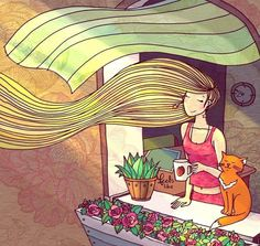Lady with long hair cartoon illustration via www.Facebook.com/GleamOfDreams