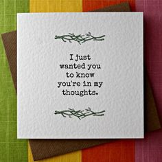 In My Thoughts - Empathy Card, Sorrow, Loss, Grief, Sympathy, Thinking of You Card, Comfort, Friendship, Serious Illness Card.