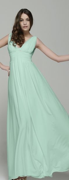 Mint Bridesmaid Dresses Long Simple Elegant Green Maid Of Honor Chiffon Wedding Guest