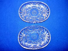 2 Anchor Hocking Early American Prescut Star of David Clear Glass Soap Dishes picclick.com