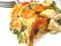 Chicken, Broccoli and Caulilower Casserole; minus the panko crumbs, and it's a yummy low carb dish!