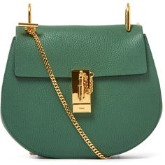 Chloe Small Green Drew Leather Bag ($1,485) ❤ liked on Polyvore featuring bags, handbags, shoulder bags, borse, green shoulder bag, chloe purses, kiss-lock handbags, chloe handbags and genuine leather handbags