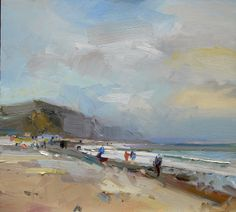 9.Seascape. Autumn Afternoon Charmouth Beach Dorset 18x20 copy