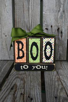 BOO to YOU Wood BLock Set  fall trick or treat autumn halloween candy corn primitive home seasonal decor gift. $18.95, via Etsy.