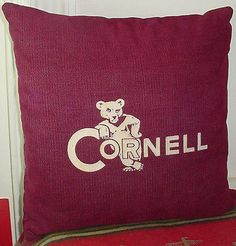 Vintage CORNELL UNIVERSITY Cordoroy Pillow With Mascot Angry Bear