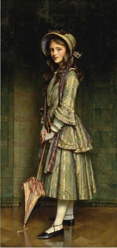hoopskirtsociety: An Early Victorian - by William Logsdail, R. This painting is actually Edwardian The artist dressed up his daughter Mary in a Victorian costume for the portrait. Victorian Paintings, Victorian Artwork, Victorian Portraits, Victorian Women, Mode Vintage, Woman Painting, Painting Art, Beautiful Paintings, Oeuvre D'art