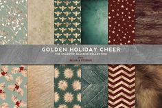 Golden Holiday Season Patterns by Blixa 6 Studios on Creative Market