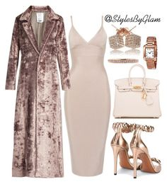Nudes by stylesbyglam on Polyvore featuring polyvore fashion style Rosie Assoulin Alaïa Hermès Loushelou Cartier Mark Broumand clothing