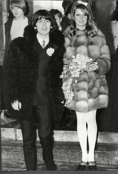"George Harrison and Pattie Boyd on their wedding day in 1966. ""I bought a Mary Quant pinky-red shot-silk dress, which came to just above the knee, and I wore it with creamy stockings and pointy red shoes. On top, because it was January and cold, I..."