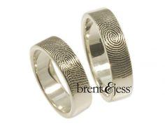 From www.brentjess.com - Set of Wide Fingerprint Wedding Bands with Exterior Tip Prints in Sterling Silver - Custom handmade fingerprint jewelry by Brent&Jess