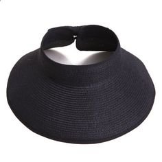 72bb53848ba Women s Packable Roll Up Wide Brim Sun Visor Crushable Straw Beach Hat  Bonnet (Black)