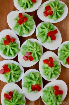 Add a festive touch to your holiday lineup with a quick and easy recipe for creamy Christmas Deviled Eggs, no food coloring needed! | recipe from justataste.com #recipes #christmas #holidayrecipes #healthyfood