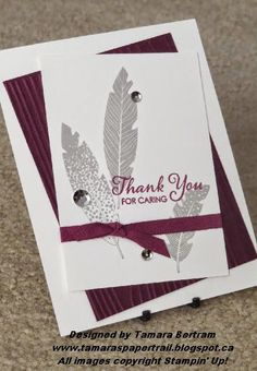 Easy Handmade Cards; Four Feathers; Stampin' Up!; Tamara's Paper Trail, the burgundy and gray make a great combination for those hard to create masculine cards.