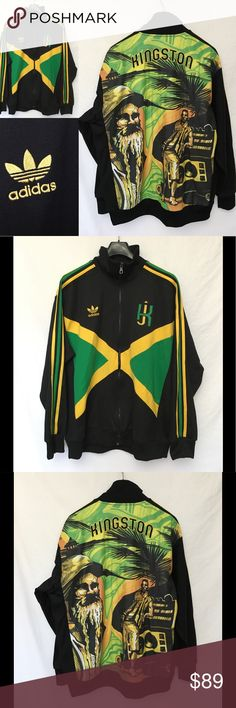 """2006 Adidas Kingston Jamaica Rasta 420 Jacket XL 2006 Adidas Kingston Jamaica Rasta 3 Stripe Black Retro Track Jacket Mens XL  Limited Edition - 2006  Embroidered Adidas Logo and KJ Design on Front. Embroidered KINGSTON on back.  Detailed Jamaica Scene on Back  100% Polyester  Men's Size XL  Length 30.5""""  Sleeves 27""""  Underarm to underarm 28""""  Excellent condition adidas Jackets & Coats"""