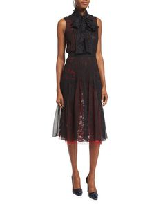 Oscar de la Renta chiffon-veiled dress with contrast lace lining. Stand collar…