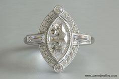Marquise Baguette Diamond Art Deco Ring New Zealand