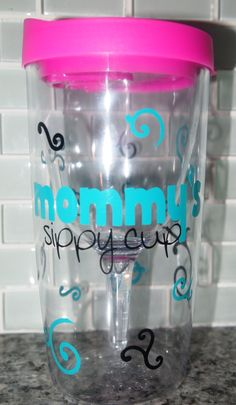 Vino2go Wine Tumbler Personalized/ Mommy's Sippy Cup. $15.00, via Etsy.