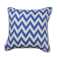 This striking blue zig zag custom made cushion cover in Rubie Green fabric is organic cotton. White cotton backing and piping. Custom Cushions, East Village, Chair And Ottoman, Green Fabric, White Cotton, Sailor, Organic Cotton, Throw Pillows, Cover
