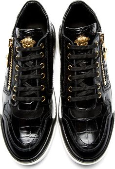 Versace: Black Croc-Embossed Leather Sneakers