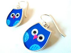Blue owl earrings-resin inlay-hand painted-mixed media. $96.00, via Etsy.