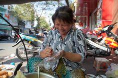 The best grilled noodle vendor in Ho Chi Minh City, Vietnam www.backofthebiketours.com