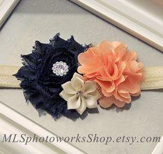 Hey, I found this really awesome Etsy listing at https://www.etsy.com/listing/195380907/navy-peach-ivory-flower-headband-wedding