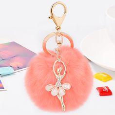 Luxury bunny fur ball keychain crystal ballerina key ring lovey gift for ballet dancer women bag charm pendant drop shipping #Affiliate