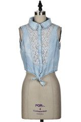 Just a Daydream Lace Panel Crop Top - Chambray...With white lacy shorts<3