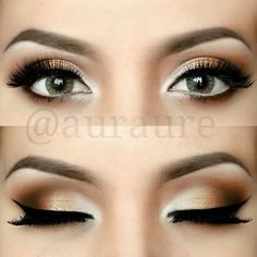 Neutral eye makeup - I wouldn't be as dramatic, but still, this is very pretty