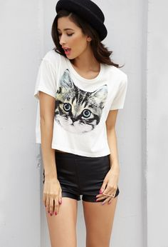 Cat Graphic Cropped Tee | FOREVER21 - 2000051546