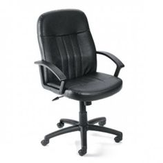 Contemporary Executive Office Chair in Black Leather by Boss Office $