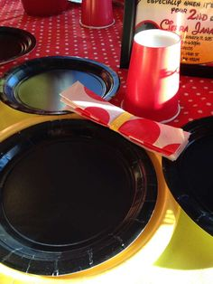 Fun place setting at a Minnie Mouse birthday party! See more party planning ideas at CatchMyParty.com!