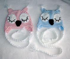 Sleepy Owl Hat Pattern - Crochet Pattern Number 25 - Beanie and Earflap Pattern - Newborn to Adult - CROCHET HAT PATTERN. $2.99, via Etsy.