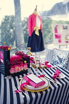 Love the navy stripes & hot pink. The Blushing Blog: destination wedding event