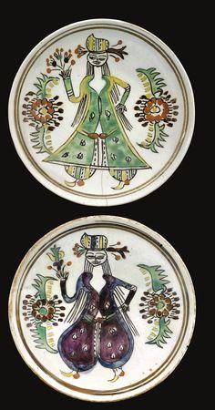 Two Kütahya figural dishes, Turkey, second half 18th Century ༺JS༻