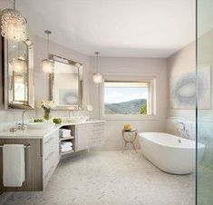 bathroom-design-denver - After photo of angled floating vanity area of master bathroom designed by Runa Novak of In Your Space Interior Design - InYourSpaceHome.com and RunaNovak.com