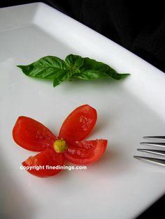 Garnishes for Dinner Plates | Cherry Tomato Flower Garnish